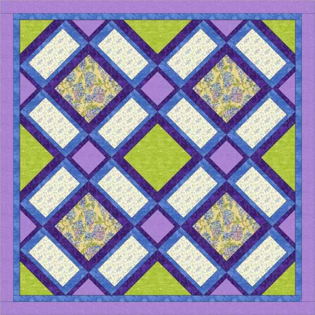 Garden windows purple and green quilt