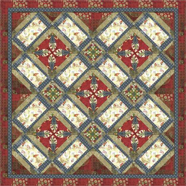 Garden windows quilt in red
