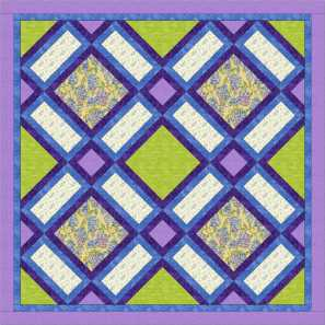 Garden windows quilt with purple and blue sashing