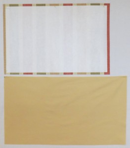 Outer fabric rectangle with interfacing and lining rectangle