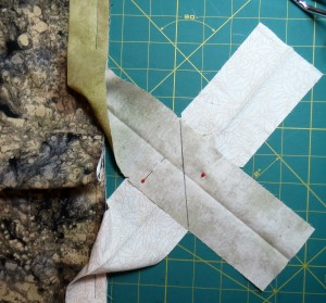 Mark the stitching line along the diagonal parallel to the quilt edge