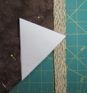 Fold the template in half to mark corner