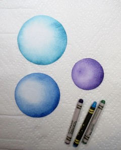 Spheres colored with melted crayons - second try