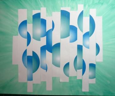 Sliced blue spheres on white strips