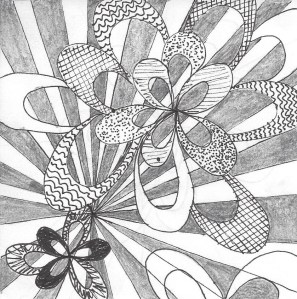 Zentangle ribbon burst
