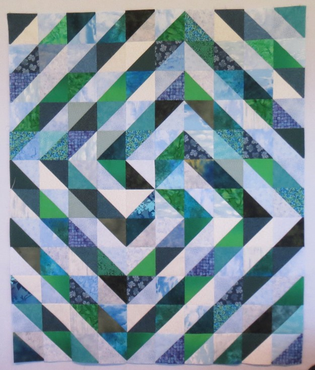 Blue Green Scrappy Triangles, 40 by 48 inches