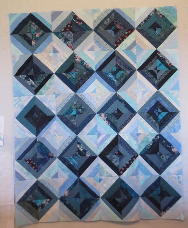 Scrappy Blue Diamond, 48 by 60 inches
