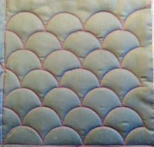 Completed clamshell quilting