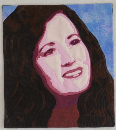 Shirley completed portrait quilt